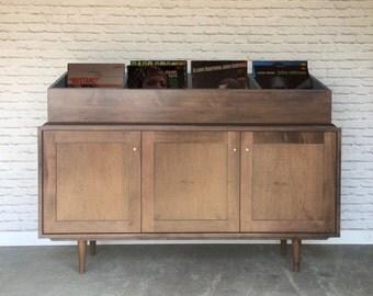 Credenza with Record Crates - Solid Maple - Dark Walnut Finish