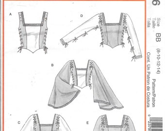 McCall's M4696 Medieval Renaissance Corset Flare Batwing Top Costume Sewing Pattern Size 8, 10, 12 and 14