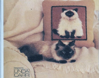 Vogue 7445 CAT Portrait Sofa Pillows Three Breeds 3D Embellished Sewing Pattern UNCUT Persian Himalayian Siamese Tuxedo