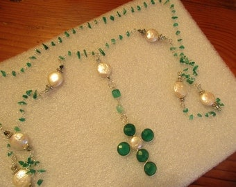 Gorgeous Genuine JADE Chip & Freshwater PEARL Rosary Chain with Sterling Silver and Green ONYX and Pearl Cross Necklace