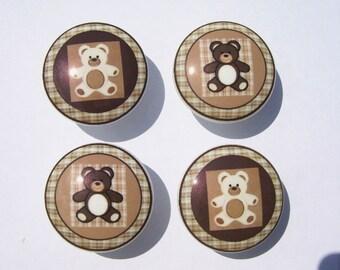 4 Teddy Bears kids boys Dresser Drawer Knobs