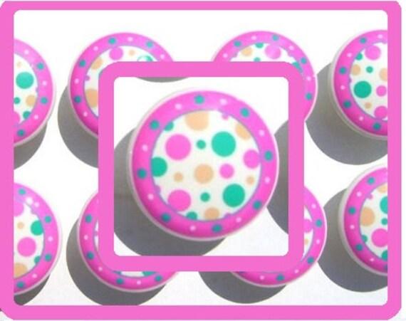 1 (ONE)  Pink Turquoise  Mod Dot  kids  girls Dresser Drawer Knob