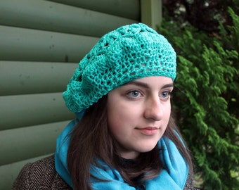 Mint green beret for woman, acril crocheted beret, green beret, lace beret