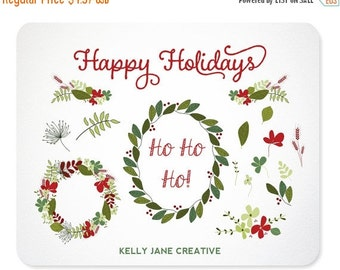 Christmas Garland and Leaves Hand Drawn Design Elements includes EPS Vector file - Instant Download