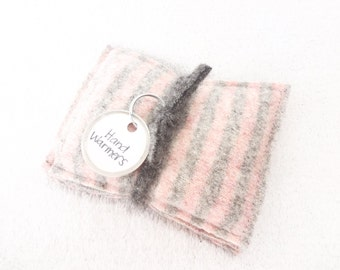 Pocket Handwarmers PINK & GREY Striped Sweater Wool Hand Warmers Upcycled Rice Bags Stocking Stuffer Gift Under 15 by WormeWoole