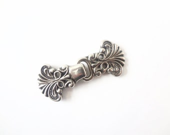 Destash Norwegian Sweater Clasps Pewter / Antiqued Silver Color Clasp ONE SET Hook and Loop Closures Scandinavian / Nordic Style, Lot No. 22