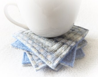 Wool Coasters / BLUE Fair Isle Coasters / Recycled Mug Rugs / Felted Wool Coasters / Ecofriendly Home Decor Housewarming Gift  by WormeWoole