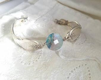Dragon vein agate stone & Antique Silverware Bracelet - vintage - antique - Victorian - boho- gypsy