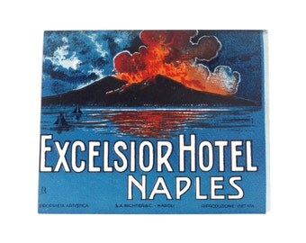 Vintage hotel luggage label, Excelsior Hotel, Naples, Italy, original unused paper ephemera, embossed decal, sticker, baggage, volcano