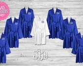 BRIDESMAID ROBES - Brides Satin Robe - Royal Blue Robes- Personalized Satin Robes - Bride Gift- Wedding Robe - Personalized Bridesmaid Gift