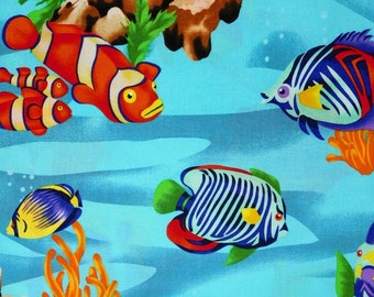 Under the sea fabric, fishes fabric, diving fishes fabric, 100% cotton fabric for Quilting and general sewing projects.