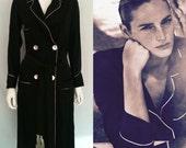 Vintage Black Tailored Rayon Lounging Robe - Circa 1950s