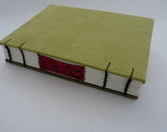 Lime green journal, Coptic, woven spine, notebook, faux suede