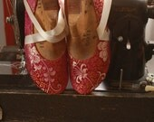 US 8 / Euro 38 / UK 6.5, Dark Pink Silk Slippers, #586