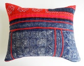 Hmong Batik Pillow Cover - Indigo Tribal Cross Stitched Pillow - Decorative Boho Throw Pillows