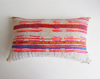 Vibrant Hmong Pillow Cover with Silver Balls - Vintage Batik Throw Pillow - Colorful Bohemian Pillows