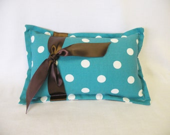 Teal and White Polka Dot Lumbar Pillow with Brown Bow - Accent Pillow