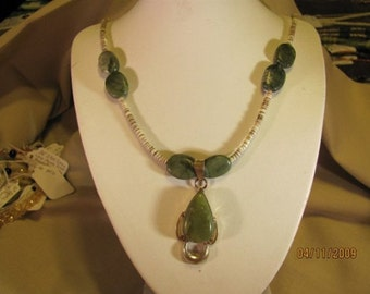 Olive Jade Necklace with Jade Heishe