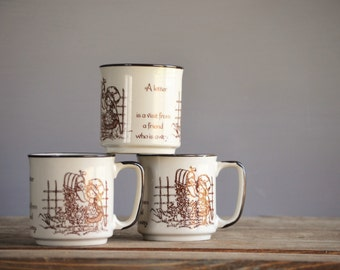 Three (3) Vintage Strawberry Shortcake Mugs / Japan / Tan