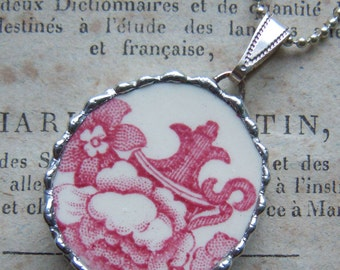 Fiona & The Fig- Antique-Victorian - Red Transferware Broken China Soldered Necklace - Pendant-Charm - Jewelry