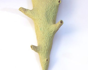 Porcelain twig wall pocket, yellow, tan, green glaze, faux bois, hand carved