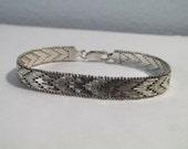 Vintage Heavy Woven Southwestern Chevron Braided Sterling Silver Bracelet