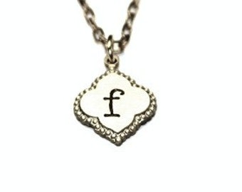Hand Stamped Hand Stamped Trefoil gold brass necklace gold trefoil jewelry initial necklace