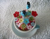 Baby Blue Tea Cup Pin Cushion