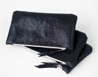 Black Leather Pouch, bridesmaid gift, party No. ZPSL-102