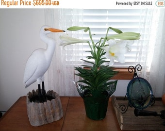 Great White Hand Carved Painted Egret Original One of a Kind New Orleans Lane Brigham