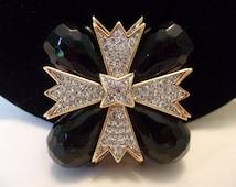 KJL Kenneth J Lane Maltese Cross Brooch Black Lucite Glass Rhinestone Gold Plate Vintage Pin Pendant