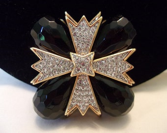 KJL Kenneth J Lane Maltese Cross Brooch Black Lucite Glass Rhinestone Gold Plate Vintage Pin Pendant