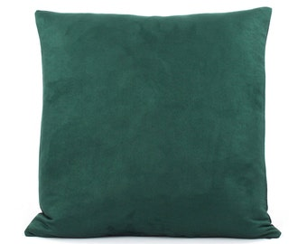 """Holiday Pillow, Green Pillow Cover 20x20"""" with Faux Suede & Denim, Hunter Green Throw Pillow, Urban Suede"""