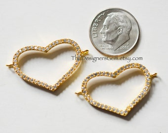 One Large Open Gold Vermeil Heart with Cubic Zirconia CZ Charm Connector 30 x 16mm