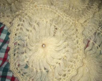 Vintage Shawl. Glentex Shawl. Wool Shawl. Bridal. Bridal Shaw. Pinwheel Crochet Shawl. Spring. Wedding
