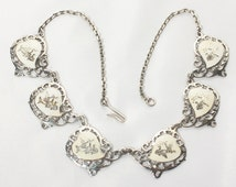 Sterling Necklace, Silver Choker, Siam Sterling, Dancing Goddess, Heart Jewelry, White Necklace