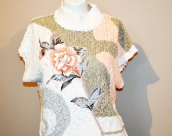 SALE......Vintage Sweater Rose with Pearls