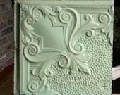 "12"" Antique Tin Ceiling Tile -- Pretty Light Green - Swirl with Fleur De Lis"