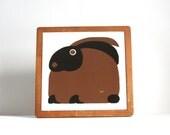 Mid Century Modern Vintage Taylor & Ng Framed Ceramic Tile Trivet of a Modern Bunny
