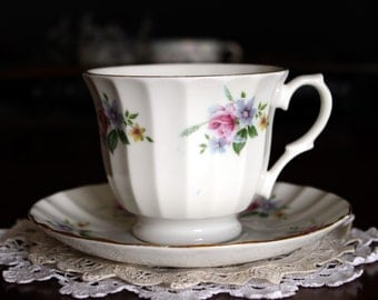 Tea Cup and Saucer,  Porcelain Teacup, Pink Roses, English Bone China 13680