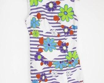 vintage 60s mod floral skort mini dress