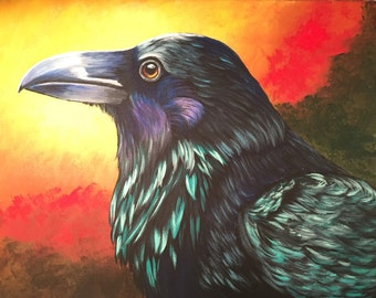 THE RAVEN  Vicki Boyd Original fine art, 16x20 gallery wrap, acrylics.  Subject - raven, crow, blackbird