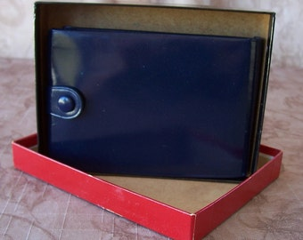 Vintage navy leather princess gardner wallet, new, old stock.  C8-181-1