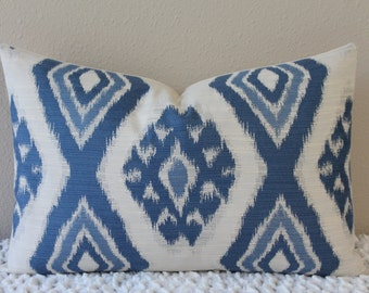 Thom Filicia for Kravet - Rigi Ikat Print in Ink - Blue and Cream - Lumbar Sizes - Decorative Designer Pillow Cover