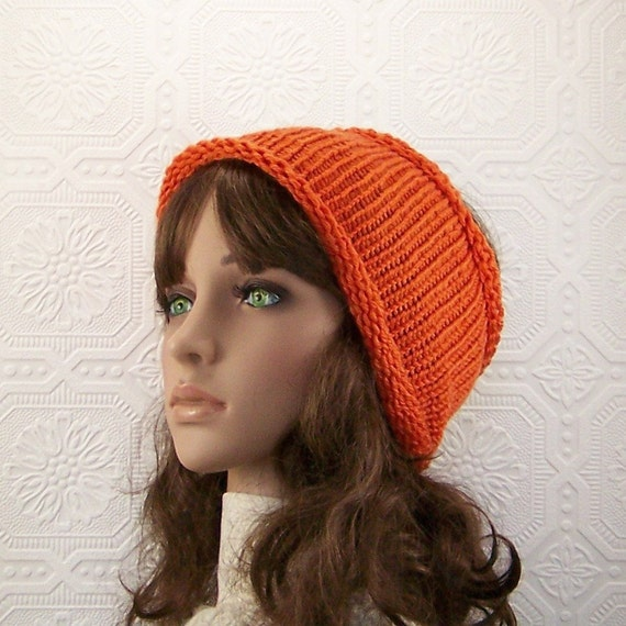 Knit dreadlock tube headband, head wrap, ear warmer - tangerine orange color, dreads tube hat - messy bun hat, ponytail hat, ready to ship