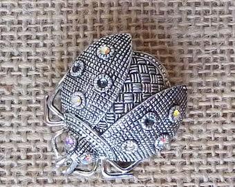 Silver Tone Aurora Borealis Rhinestone Ladybug Pin Brooch
