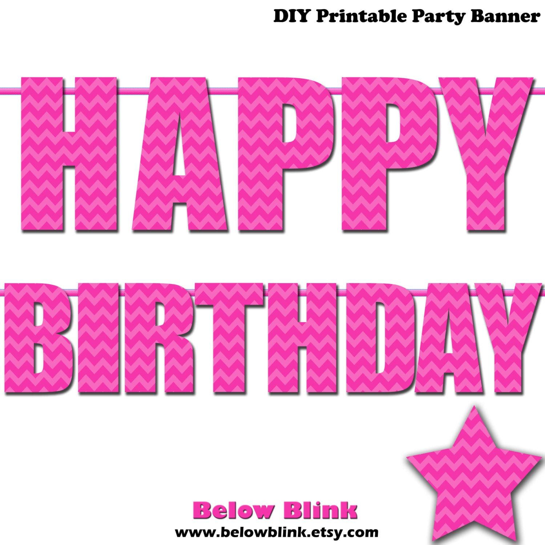 Pink Happy Birthday Letter Banner Pink Chevron Photo Prop