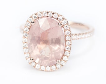Sale - CERTIFIED - GIA Certified Oval HUGE Champagne Peach Pink Sapphire & Diamond Cushion Halo Engagement Ring 14K Rose Gold