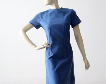 vintage 60s denim shift dress, mod jumper