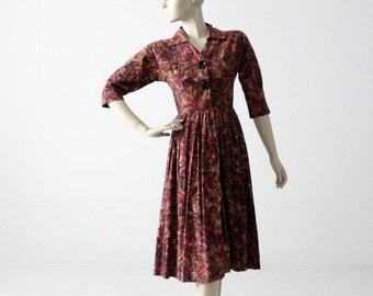 SALE 1950s print dress by Coquette